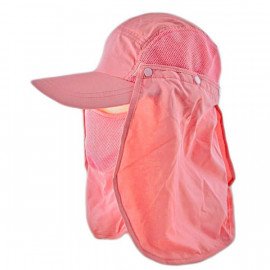 Long Neck Flap /w Face Mask Mesh Cap Hat Fishing Hiking (SALMON PINK)