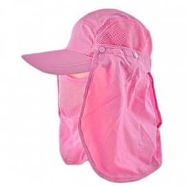 Long Neck Flap /w Face Mask Mesh Cap Hat Fishing Hiking (BABY PINK)