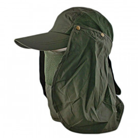 Long Neck Flap /w Face Mask Mesh Cap Hat Fishing Hiking (OLIVE)