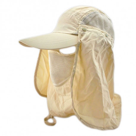 Long Neck Flap /w Face Mask Mesh Cap Hat Fishing Hiking (KHAKI)