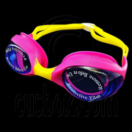 Swimming Kids Goggles with Box PURPLE YELLOW