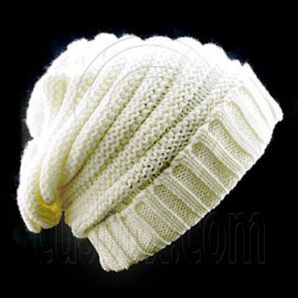 Plain Beanie with Mini Stripe Pattern Unisex Winter Hat BEIGE WHITE