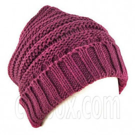 Plain Beanie with Mini Stripe Pattern Unisex Winter Hat BURGUNDY RED