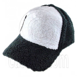 Plain Colour Baseball Long Plush Cap (Black White)