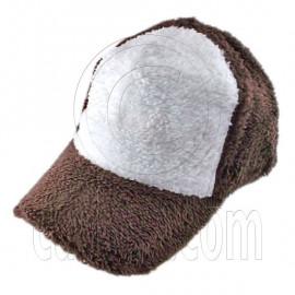 Plain Colour Baseball Long Plush Cap (Brown White)
