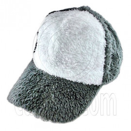 Plain Colour Baseball Long Plush Cap (Gray White)