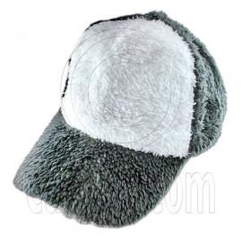 Plain Colour Baseball Long Plush Cap (Gray White)