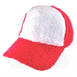 Plain Colour Baseball Long Plush Cap (Red White)