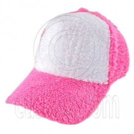 Plain Colour Baseball Long Plush Cap (Pink White)