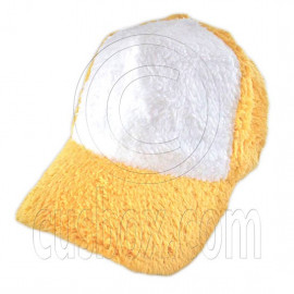 Plain Colour Baseball Long Plush Cap (Yellow White)