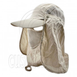 Long Neck Flap /w Face Mask Mesh Cap Hat Fishing Hiking (DARK KHAKI)