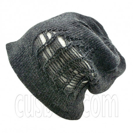 Warm Double Layer Wooly Slouchy Beanie Hat w/ Striped Pattern (GRAY BLACK white)