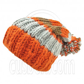 Warm Wooly Slouchy Beanie Hat w/ Thick Color Striped (ORANGE)