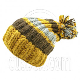 Warm Wooly Slouchy Beanie Hat w/ Thick Color Striped (YELLOW)