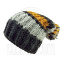 Warm Wooly Slouchy Beanie Hat w/ Thick Color Striped (BLACK)