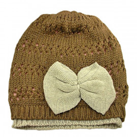 Warm Double Layer Wooly Slouchy Beanie Hat w/ Butterfly (BROWN)