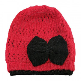Warm Double Layer Wooly Slouchy Beanie Hat w/ Butterfly (RED)