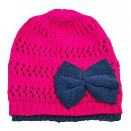 Warm Double Layer Wooly Slouchy Beanie Hat w/ Butterfly (HOT PINK)