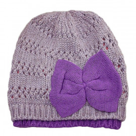 Warm Double Layer Wooly Slouchy Beanie Hat w/ Butterfly (PURPLE)