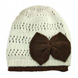 Warm Double Layer Wooly Slouchy Beanie Hat w/ Butterfly (BEIGE WHITE)