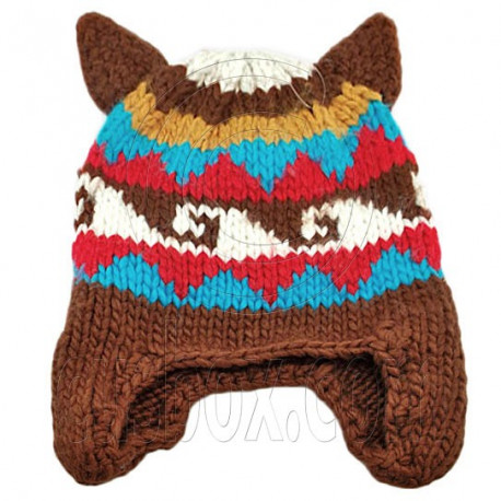 Warm Lovely Ears Earflaps Wooly Beanie Hat w/ Jacquard Pattern (BROWN)