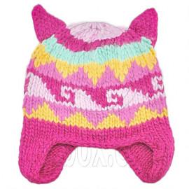 Warm Lovely Ears Earflaps Wooly Beanie Hat w/ Jacquard Pattern (HOTPINK)
