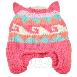 Warm Lovely Ears Earflaps Wooly Beanie Hat w/ Jacquard Pattern (PINK)