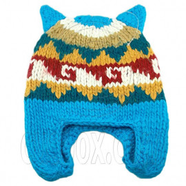 Warm Lovely Ears Earflaps Wooly Beanie Hat w/ Jacquard Pattern (SKY BLUE)