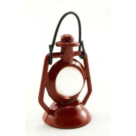 Vintage Antique Red Metal Oil Lamp Dollhouse Miniature