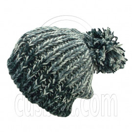 Warm Thick Top Pom Slouchy Wooly Beanie Hat w/ Jacquard Pattern (BLACK)
