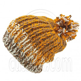Warm Thick Top Pom Slouchy Wooly Beanie Hat w/ Jacquard Pattern (BROWN)