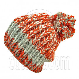 Warm Thick Top Pom Slouchy Wooly Beanie Hat w/ Jacquard Pattern (ORANGE)