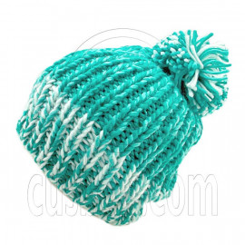Warm Thick Top Pom Slouchy Wooly Beanie Hat w/ Jacquard Pattern (GREEN)