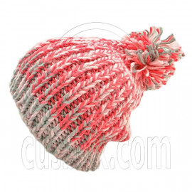 Warm Thick Top Pom Slouchy Wooly Beanie Hat w/ Jacquard Pattern (PINK)