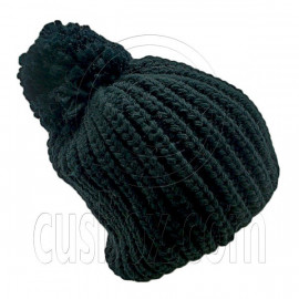 Warm Thick Top Pom Slouchy Wooly Beanie Hat w/ Plain Color (BLACK)