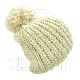Warm Thick Top Pom Slouchy Wooly Beanie Hat w/ Plain Color (BEIGE)