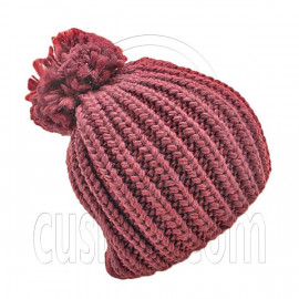Warm Thick Top Pom Slouchy Wooly Beanie Hat w/ Plain Color (BURGUNDY RED)