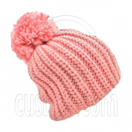 Warm Thick Top Pom Slouchy Wooly Beanie Hat w/ Plain Color (PINK)