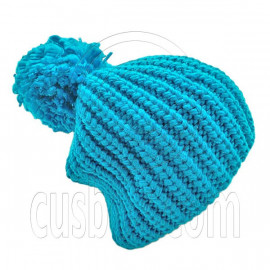 Warm Thick Top Pom Slouchy Wooly Beanie Hat w/ Plain Color (TURQUOISE BLUE)