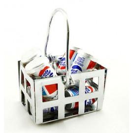 Set of Coke Drinks Shopping Basket Dollhouse Miniature
