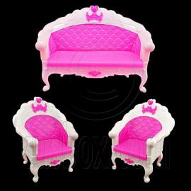 Set 3 Pink Sofa Arm Chair New 1:6 Barbie Blythe Doll's House Dollhouse Furniture