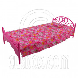 Pink Pillow Bedsheet Bed 1:6 for Barbie Monster High Doll's Dollhouse Furniture