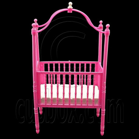 Pink Nursery Cradle Bed Canopy 1/6 Barbie Kelly Doll's House Dollhouse Furniture