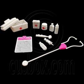 Set Medical Equipment Stethescope Pill Box 1/6 Scale Barbie Dollhouse Miniature