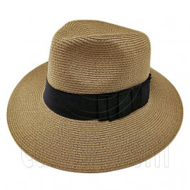 Wide Brim Fedora Braid Trim Hat (DARK BROWN)