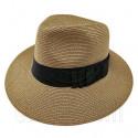 Wide Brim Fedora Braid Trim Hat (DARK BROWN)