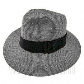 Wide Brim Fedora Braid Trim Hat (GRAY)