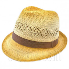Unisex's Vented Lightweight Fedora Straw Hat w/ Brown Band