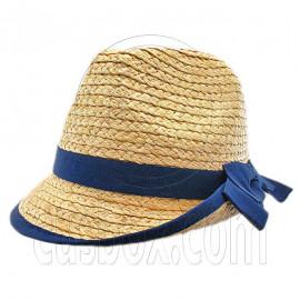 Ladies' Natural Raffia Straw Hat w/ Blue Band Bow