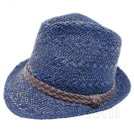 Mens' Two Woven Pattern Fedora Straw Hat w/ Brown Band (Dark Blue)